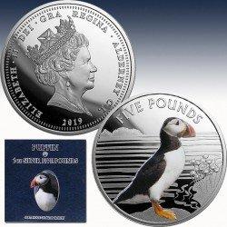 """1 x 1 oz Silber 5Pfd Alderney """"Puffin..."""