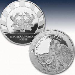 1 x 1 oz Silbermünze 5 Cedis Ghana...
