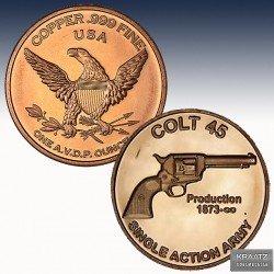 "1 x 1 Oz Copper Round ""Colt 45  ""..."