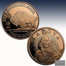 1 x 1 Oz Copper Round Lakota Sioux...