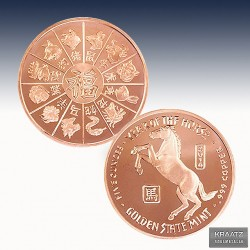 1 x 1 oz Copper Round Golden State...