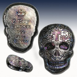 1 x 2 Oz Hand-Poured Silver Skull -...