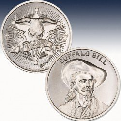 "1 x 1 Oz Silverround Intaglio Mint ""Buffalo Bill"" -BU-"