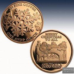 "1 x 1 oz Copper Round ""Merry..."