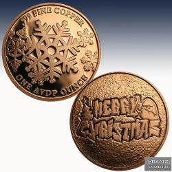 "1 x 1 oz Copper Round ""Merry..."