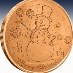 "1 x 1 oz Copper Round ""Snowman"" -BU-..."