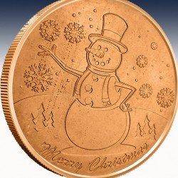 "1 x 1 oz Copper Round ""Snowman"" -BU-..."