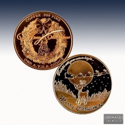 "1 x 1 oz Copper Round ""Rudolph the..."
