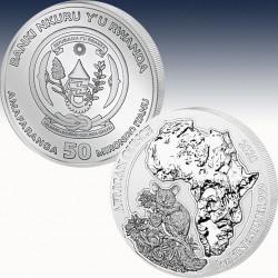 1 x 1 oz Silbermünze 50 RWF Rwanda...
