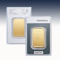 1 x 20 Gramm Goldbarren Heraeus...