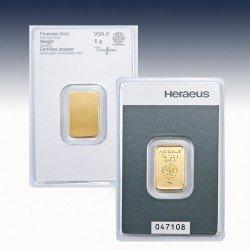1 x 5 Gramm Goldbarren Heraeus (geprägt)
