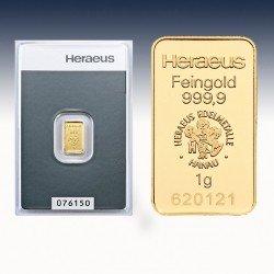 1 x 1 Gramm Goldbarren Heraeus (geprägt)