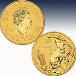 """1 x 1/2 oz Gold 50$ Australien """"Lunar..."""