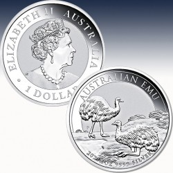 """1 x 1 oz Silber 1$ Australien """"Emu..."""