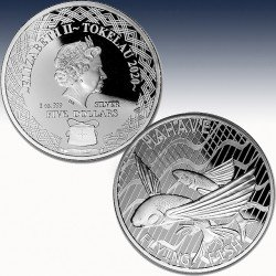 """1 x 1 oz Silber 5$ Tokelau """"Flying..."""