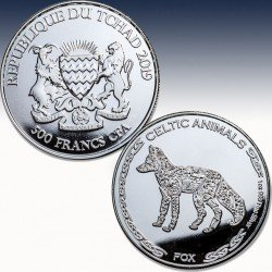 "1 x 1 oz Silbermünze 500 France Republic of Chad ""Celtic Animals - FOX  2019"" -BU-*"