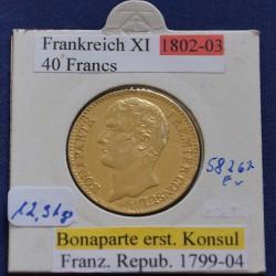 1 x Goldmünze 40 Francs Frankreich...