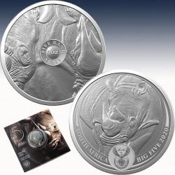 """1 x 1 oz Silbermünze 5Rand Südafrika """"Big Five Serie - Rhino 2020"""" -BU-*"""