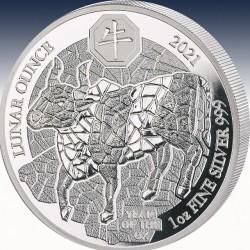 """1 x 1 Oz Silber 50 RWF Ruanda """"Lunar..."""