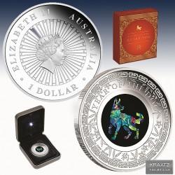 """1 x 1 oz Silber 1$ Australien """"Opal..."""