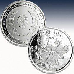 "1 x 1 oz Silber 2$ Grenada ""Octopus..."