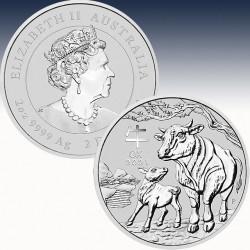 1 x 2 oz Silber 2$ Australien Lunar 3...