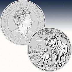 1 x 1 Kg Silber 30$ Australien Lunar...