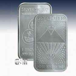 "1 x 1 Oz Silverbar Silver Shield ""No Lie"" -BU-"