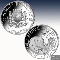 1 x 1/10 Oz Silbermünze 10 SH Somalia...