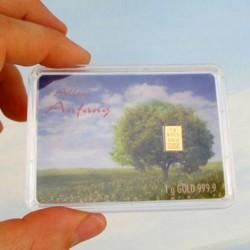 1 x 1 Gramm Geschenk-Goldbarren...