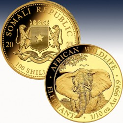 1 x 1/10 Oz Goldmünze 100 SH Somalia...