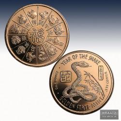 1 x 1 Oz Copper Round Golden State...