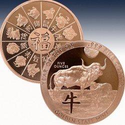 1 x 5 Oz Copper Round Golden State...