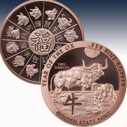 1 x 2 Oz Copper Round Golden State...