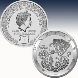 1 x 1 oz Silbermünze 5$ Tokaleu...