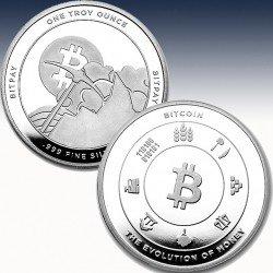 """1 x 1 Oz Silverround """"Bitcoin Round -..."""