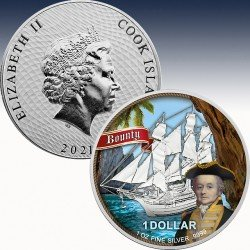 1 x 1 Oz Silber 1$ Cook Islands...
