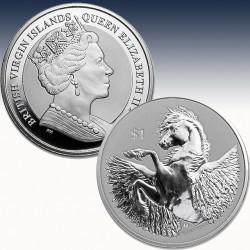 1 x 1 Oz Silber $1 British Virgin...