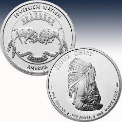 """1 x 1 Oz Silver Coin $1 USA """"Sioux..."""