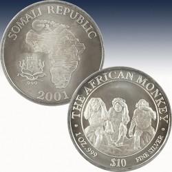 1 x 1 Oz Silbermünze $10 Somalia...