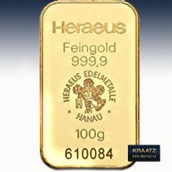 1 x 100 Gramm Goldbarren Heraeus...