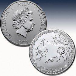 1 x 1 oz Silbermünze 2$ Niue Islands...