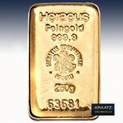 1 x 250 Gramm Goldbarren Heraeus...