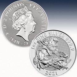 1 x 1 oz Silber 2 Pfd Vereinigtes...