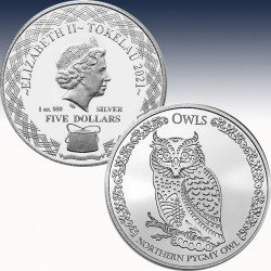 "1 x 1 oz Silber 5$ Tokelau ""Northern..."