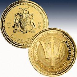 1 x 1/5 oz Goldmünze 2$ Barbados...