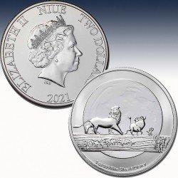 1 x 1 Silbermünze 2$ New Zealand...