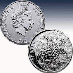 1 x 1 Oz Silbermünze 2$ Hawksbill...