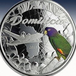 """1 x 1 oz Silber 2$ Nature Isel """"Dominica 2019"""" -Colorized-*"""
