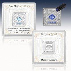 1 x 5 Gramm Silberbarren Geiger...